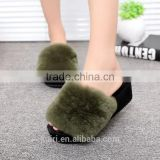 2017 High-Heeled Rabbit Fur Slippers Women Fashion Autumn Winter Fur Slides Platform Women Shoes Women Slippers Fslipper-2