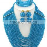 Gold-plated 10layers Crystal Beads Jewelry African Bridal Necklace Set