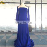2017 Wholesale Scoop Neckline Chiffon Summer Wear Women Long Blue Plus Size Evening Dress