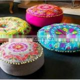 Indian Ethnic suzani cotton round pillow case wholesale decorative floor cushion cover