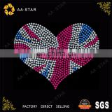 Heart shape united states flag rhinestone template designs for clothing