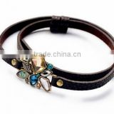 Fashion Jewelry Hot Sale Colorful Crystal Charm pu leather bracelets & bangles New Arrival Luxury Brand for women bangle 2015