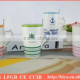 coffee cup with lid ceramic cup with lid The factory price capacity ceramic mug with iron spoon ,With cover with a tablespoon