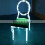 Modern clear acrylic LED ghost chair used hotel banquet chair with cushion