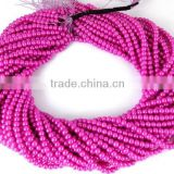5 Strands Fuschia Carnation Pink Smooth 4.5mm Rondelle Glass Pearl Beads,Acrylic Pearl beads,Jewelry Beads,Pearlized Bea