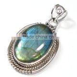 blue fire labradorite pendant Wholesale 925 sterling silver gemstone jewelry jaipur jewellery