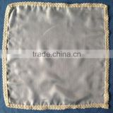100%silk pongee 5 white handkerchief with cotton lace hem