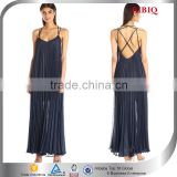 New Designs blue Chiffon Pleated Maxi Halter Party Dress For Lady