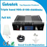 3g 4g boosters, 900+2100+4G LTE 2600 triple band repeater,cell phone signal amplifier,gsm signal booster