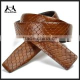 2014 fashion brown snakeskin belt with genuine leather