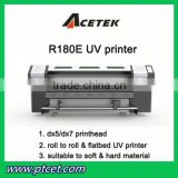 uv flatbed inkjet glass printer, digital flex banner uv printer(for flat & roll material)