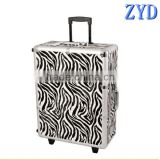 Aluminum trolley makeup vanity box with legs trays and lights,cosmetic case in zebra,rolling makeup case