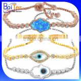 Fatima Of Hand Turkey Jewelry/Adjustable 925 Sterling Silver Opal Hamsa Bracelet/Pave CZ Diamond Evil Eye Bracelet Wholesale                                                                         Quality Choice