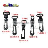 Black Plastic Rotary Snap Hook Clips for Bags Backpack Hanging Outdoor Kits #FLC019-A/B/C/D/E