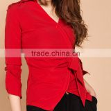 Deep V Neck Long Sleeve Self Tie Sash Bow Formal Blouse Top Shirt OEM ODM Type Clothes Quick Ship Factory Manufacturer Guangzhou