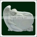 White Marble Angel Heart Shaped Cemetery Monuments
