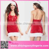 Hot Sale Christmas Party Dress Women Gift Sexy Skirt Christmas Hat Hollween Ladies Dress Santa Claus Costumes Free Size