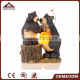 resin black bear figurines with solar garden light