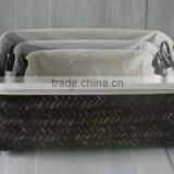 bamboo basket with handle and cloth