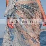 Graceful chiffon sexy pareo dress bali sarongs Floral Printed Chiffon Bali SarongsWholesale new arrival 2014 popular sexy pareo