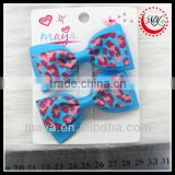 Beautiful novelty bule animal printed hair bows(approved by BV)