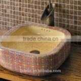 Handpainted ceramic art basin colorful countertop round sink porcelain flower edge bowl vanity top GD-F23