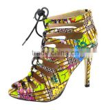 African Real Wax Print Fabric high heel shoes ankara shoes                                                                         Quality Choice