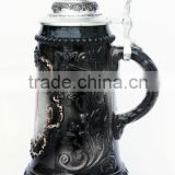 custom ceramic beer stein mug with pewter lid