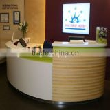 custom made round wood office reception desk