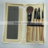 Natural Hair Bamboo Cosmetic Brush Set Travel Makeup Kit with Makeup Mirror