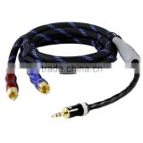 HIFI cable 3.5mm to AV RCA Audio Adapter Cable for iPod/MP3 palicass plug 3.4ft
