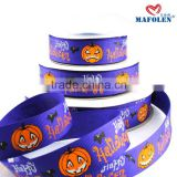 Party decoration wholesale in china screen printing inks blue color pumpkin halloween ribbons