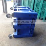 Wheeled Blue Plastic Storage Pallet Box, Storage moving crate