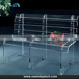 Modern simple acrylic long chairs,clear acrylic bench, acrylic leisure salon chair for home/hotel