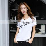 2016 Summer New Fashion Women Stretch Cotton T Shirts Ladies Patchwork High Quality Korean Graphic Printed Tee Shirt