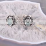 Top Quality Sterling Silver 925 Jade Stone Ring, Pave Setting Crystal Luminous stone Druzy Ring, Glowing in the dark
