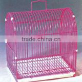 manufactor small pink metal wire bird breeding roll cage with white plastic pan