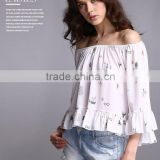 Pretty Steps 2016 Hot Sale Animal Printed Shirt Women Blouses And Ladies Autumn Tops Off The Shoulder Tops