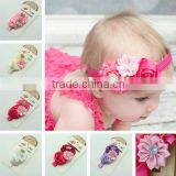 Baby Girl Hair Accessories Satin Ribbon Flower With Lace Elastic Headband Weave band Baby Hair Accessories