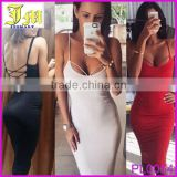 2015 Sexy Women Backless halterneck Slim Cocktail Bodycon Bandage Wrap Dress Casual Dress Designs for Pakistani Girls