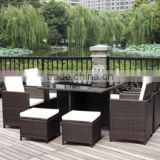 9 pieces rattan cube patio garden outdoor furniture dinning table sofa set