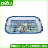 "Winter snowman hug together melamine deep tray, 8.5"" Christmas decorative plastic trays"