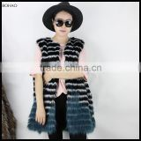 European Style Best Quality Blue Faux Fur Vests For Women