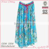 Women long print skirt Bohemian style graceful casual wear best selling maxi chiffon skirt
