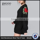 Customized Design Embroidered Roses Longline Sweatshirt Black Oversized Fleece Pullover For Women