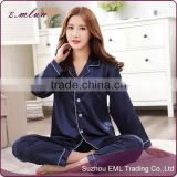 Luxury Women's Pure Satin Silk Navy Blue Pajama men pajamas