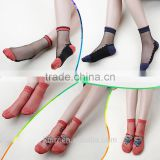 WS-45 Beautiful Women Lace Socks Crystal Glass Silk Short Thin Transparent Roses Flower Socks