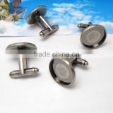 16mm Antique Silver Round Blank French Cufflink Base For Glass Cabochon