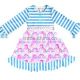 Yiwu supplier boutique girls fancy cartoon unicorn printed dress smocked baby soft cotton frock girl clothing