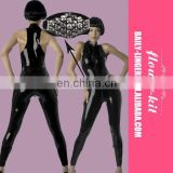 Black Vinyl Vest Style Long Jumpsuit Women Hot Sexy Leather Catsuit